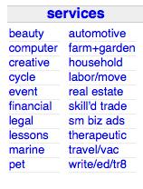 Services Menu in Craigslist